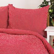 Krepové povlečení Pallas Puntík červená, 140 x 200 cm, 70 x 90 cm