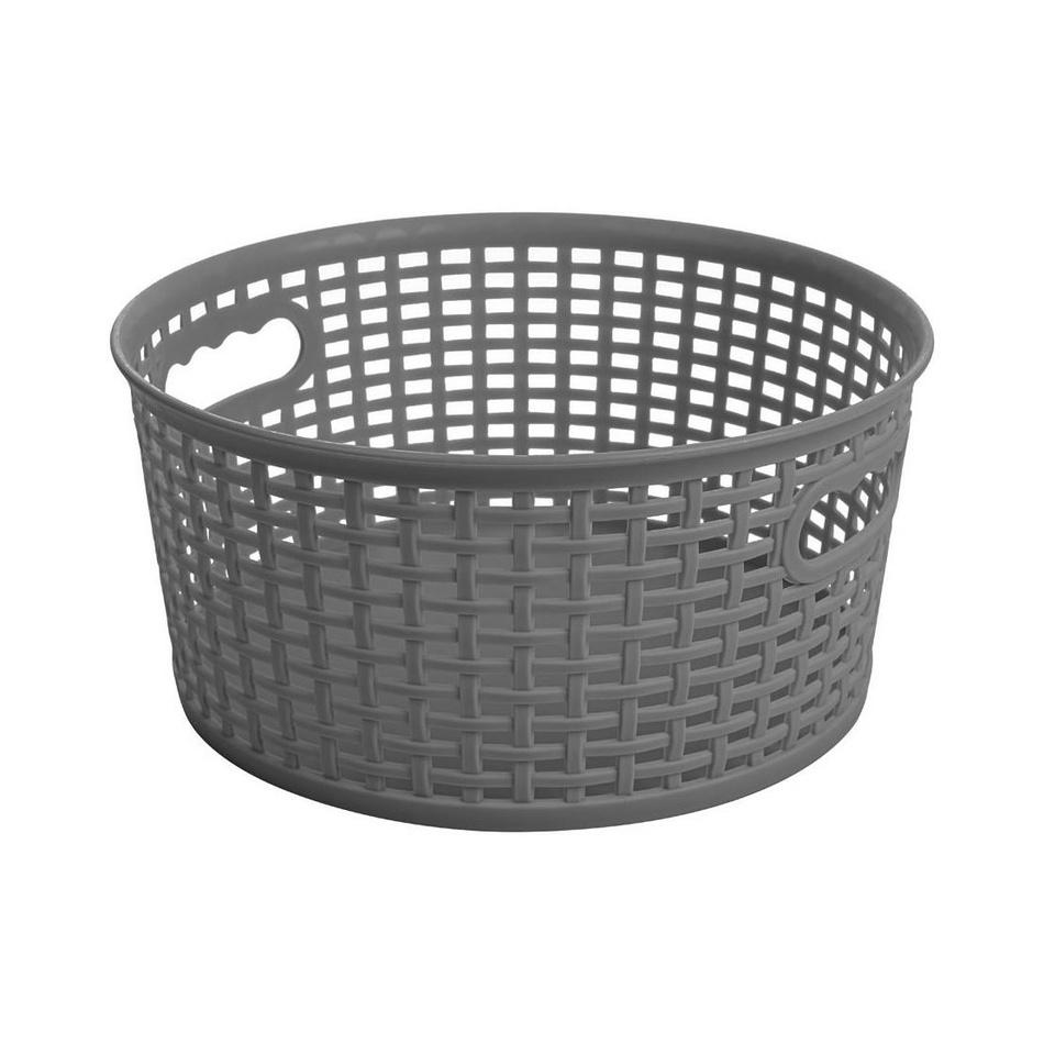 Okrúhly košík RATTAN CLASSIC 4,5 l, tm. sivá