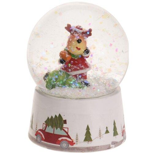 Vánoční sněžítko Reindeer with Tree, 8,5 cm