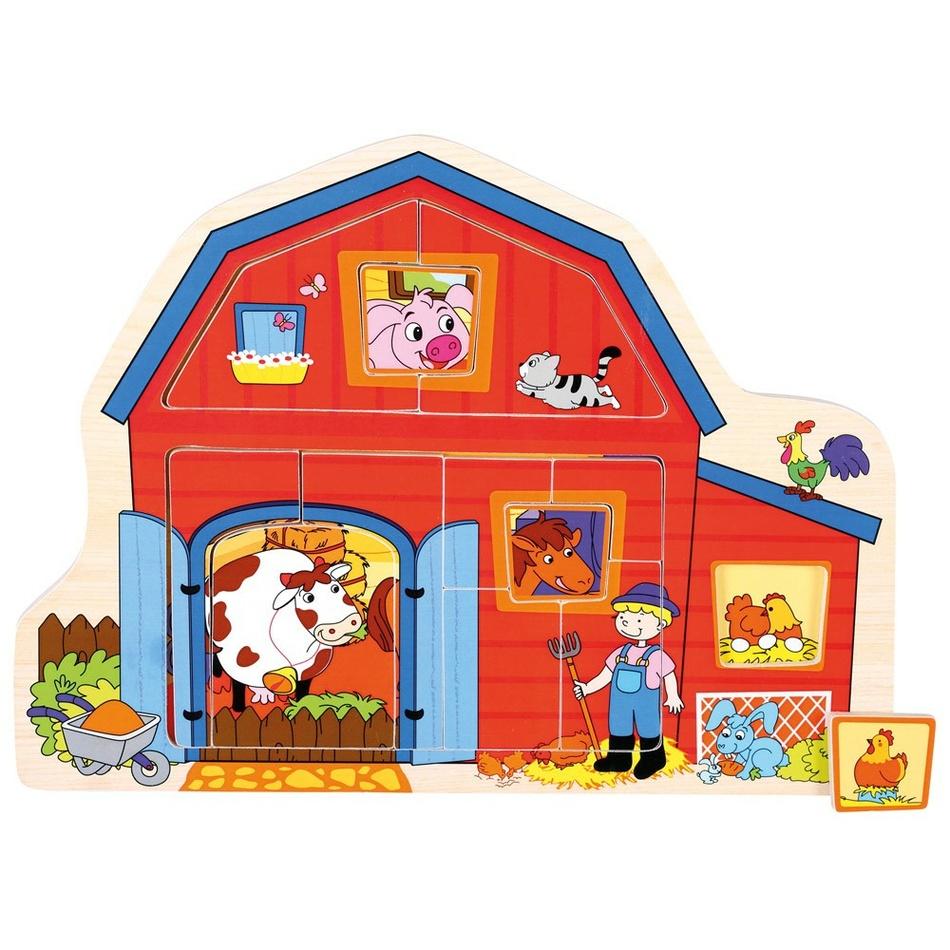 Bino DŘEVO Baby puzzle farma 13 dílků vkládačka domeček