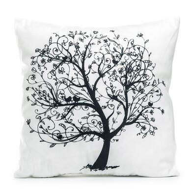 Obliečka na vankúšik Strom s vtáčikmi, 45 x 45 cm