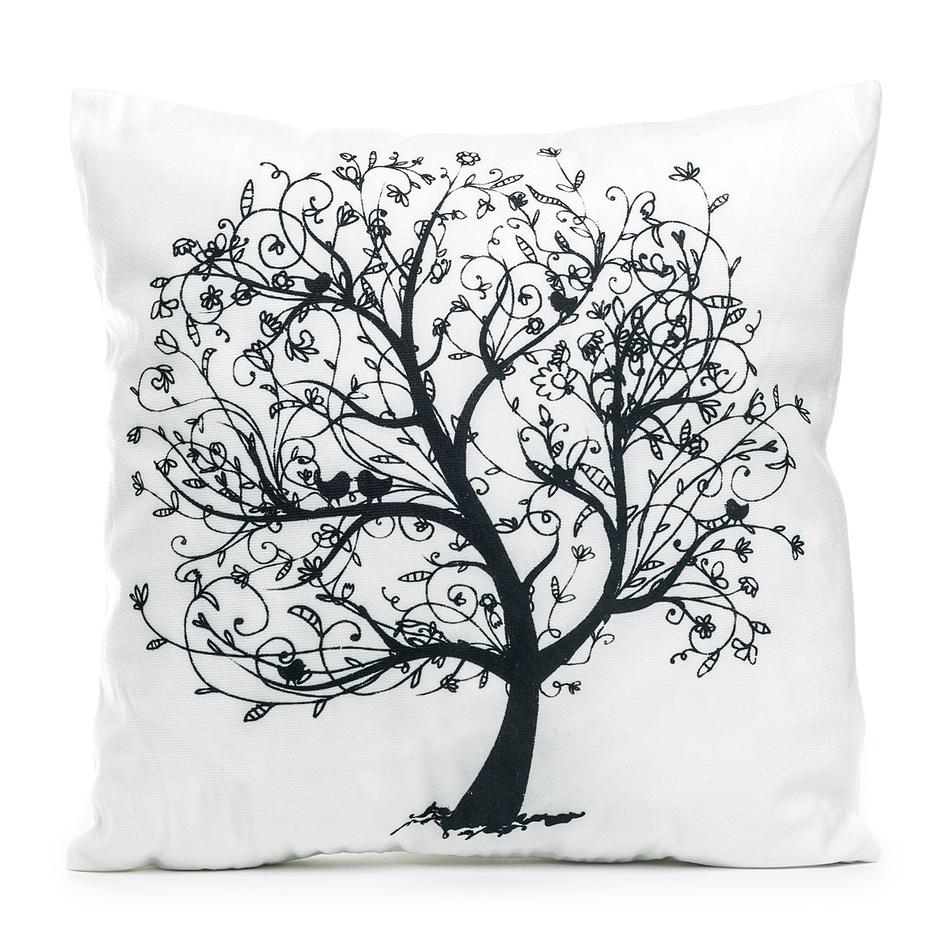 Jahu Obliečka na vankúšik Strom s vtáčikmi, 45 x 45 cm