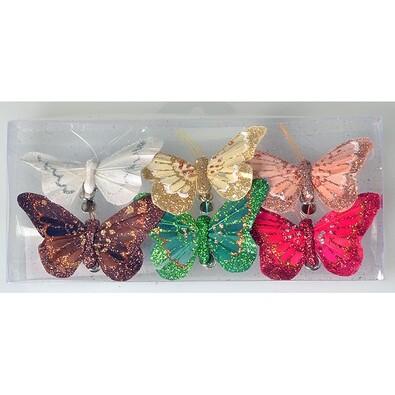 Sada motýľov na klipe 8 cm, 6 ks