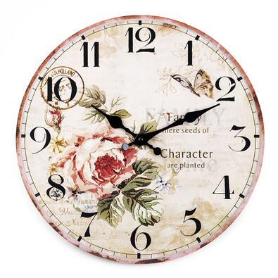 Nástěnné hodiny růže, 34 cm