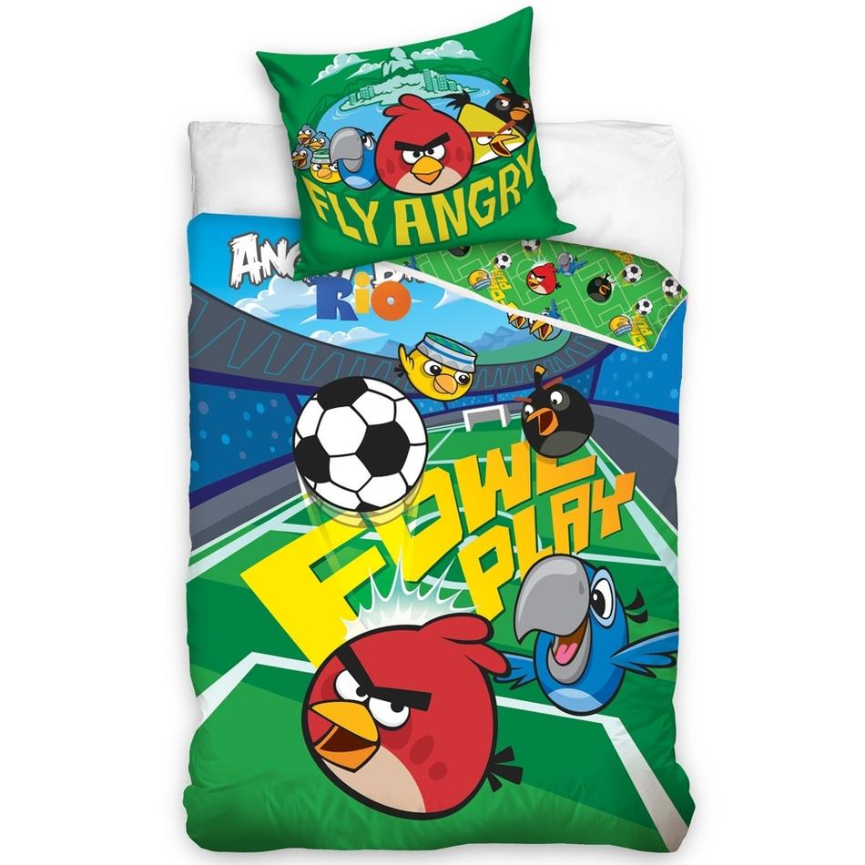 Tip Trade Dětské bavlněné povlečení Angry Birds Fotbalový, 140 x 200 cm, 70 x 90 cm
