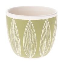 Ceramiczna osłonka na doniczkę Liście, zielony, 17 x 15 x 17 cm