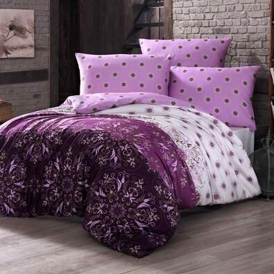 Bavlněné povlečení Alberica fialová, 220 x 200 cm, 2x 70 x 90 cm