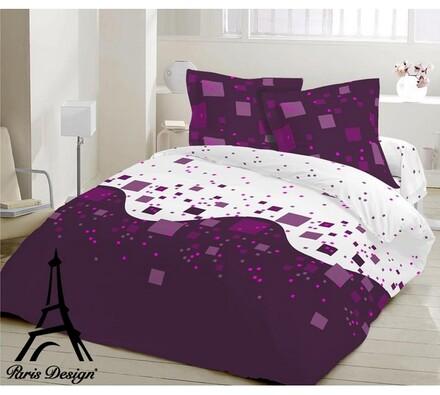 Krepové povlečení Cubes lila, 140 x 200 cm, 70 x 9, bílá + fialová, 140 x 200 cm, 70 x 90 cm