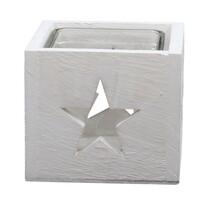 Drewniany świecznik ze szkłem Gwiazda, 9,5 x 8 cm