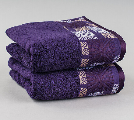 Ručník Ethnic fialová, 50 x 90 cm, sada 2 ks
