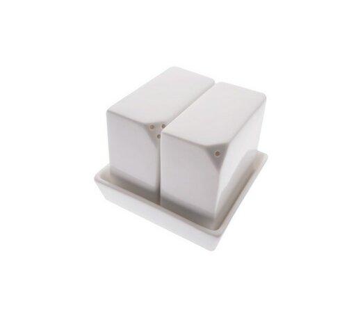 Štvorcová soľnička a korenička na stôl White Basic, biela, 7 x 7 x 8 cm