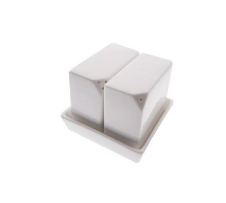 Čtvercová solnička a kořenka na stůl White Basics,, bílá, 7 x 7 x 8 cm