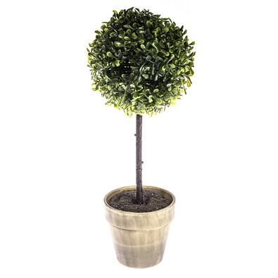 Buxusový stromček v kvetináči, sivá