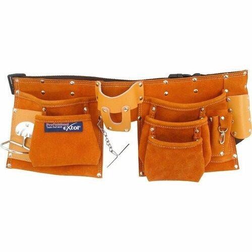 Pás na nářadí kožený, 9 kapes (2 velké, 3 střední, 4 malé) EXTOL-PREMIUM