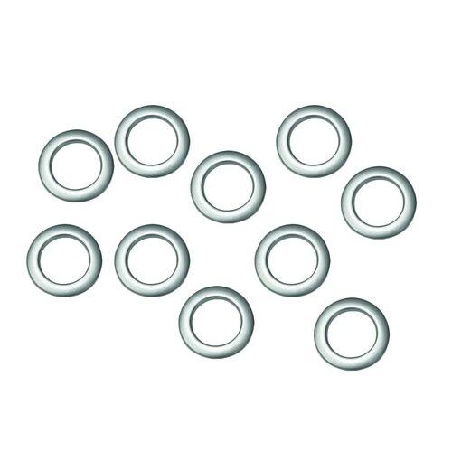 Kroužky látkové stříbrné, matné 10 ks, 3,5 / 5,5 cm