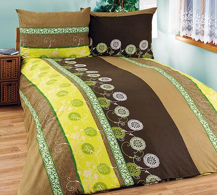 Bavlněné povlečení Zelené kvítí, 240 x 220 cm, 2 ks 70 x 90 cm