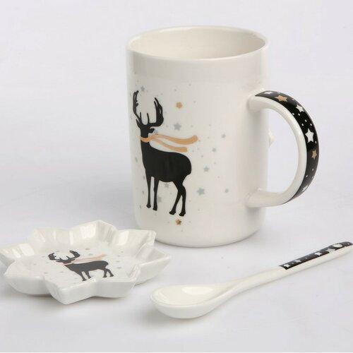 Altom Porcelánový hrnek v dárkové krabičce Nordic Winter reindeer 360 ml