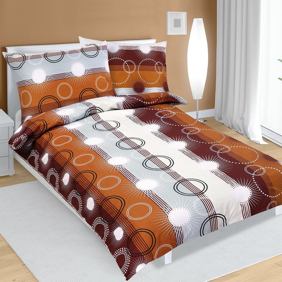 Bellatex Bavlnené obliečky Lúče hnedá, 140 x 220 cm, 70 x 90 cm