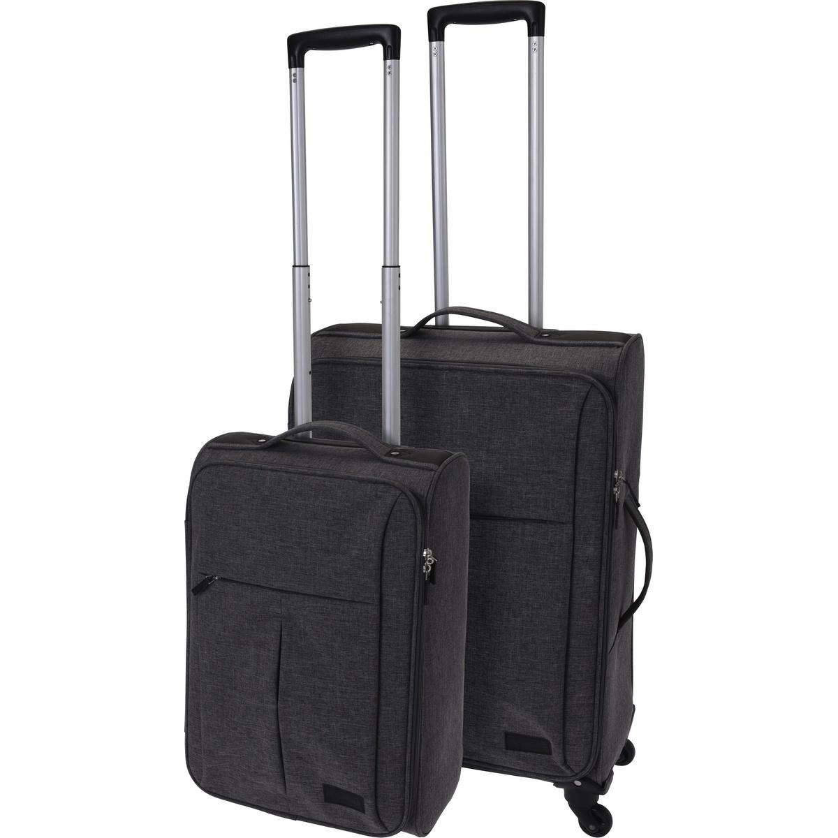 Koopman Sada textilních kufrů na kolečkách 2 ks, tmavě šedá