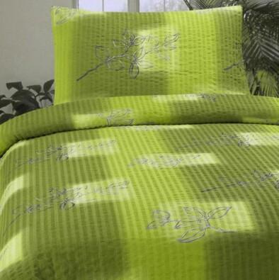 Krepové povlečení Nata zelená, 140x200, 70x90 cm