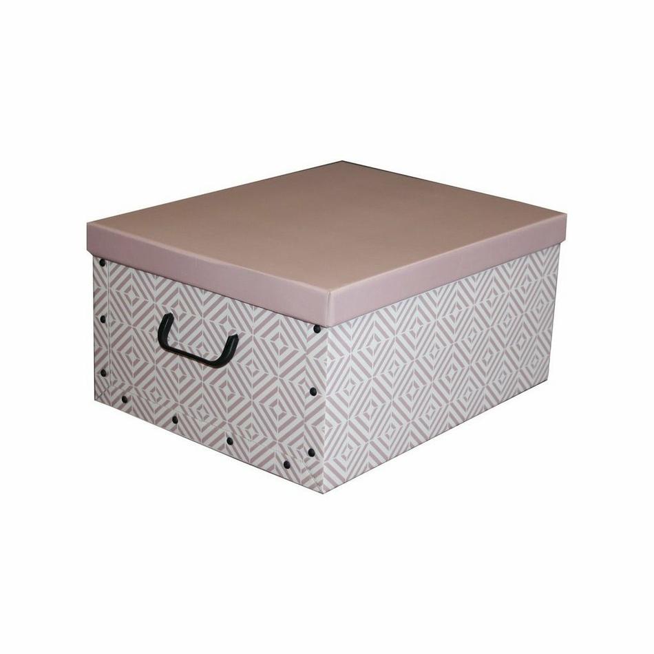 Compactor Skladacia úložná krabica - kartón box Compactor Nordic 50 x 40 x 25 cm, ružová (Antique)