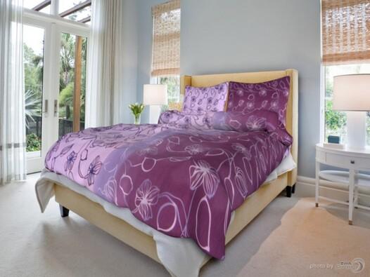 Bavlněné povlečení stvoly fialové,140x200cm,70x90