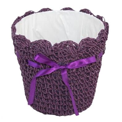 Košík s mašličkou tmavě fialový