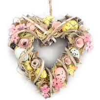 Velikonoční srdce zdobené Coloured Eggs, 23 x 24 cm