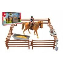 Teddies  Kůň s žokejem, ohradou a doplňky, 33 x 19 x 5,5 cm