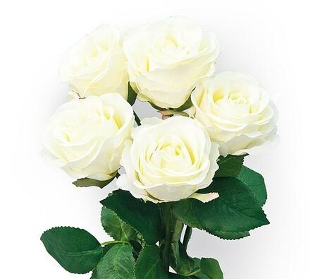 Umělá květina sada bílých růží 5 ks
