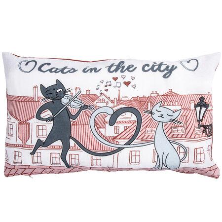 Povlak na polštářek Kočky ve městě, 30 x 50 cm