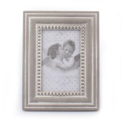 Dřevěný fotorámeček Cupido, šedá