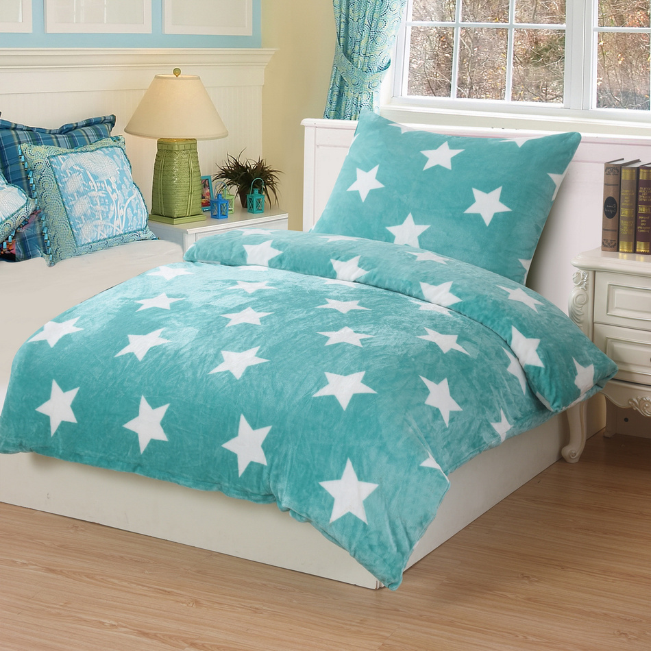 Jahu Obliečky mikroplyš Stars mint, 140 x 200 cm, 70 x 90 cm