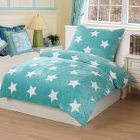 Lenjerie de pat micro-pluş Stars mint, 140 x 200 cm, 70 x 90 cm