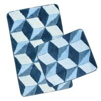Set covorașe baie Ultra Cube albastru, 60 x 100 cm, 60 x 50 cm