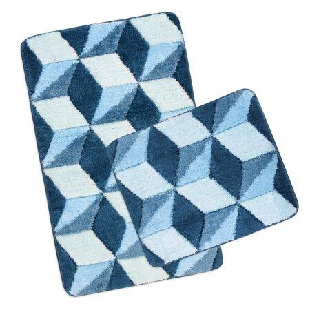 Sada kúpeľňových predložiek Ultra Modrá kocky, 60 x 100 cm, 60 x 50 cm