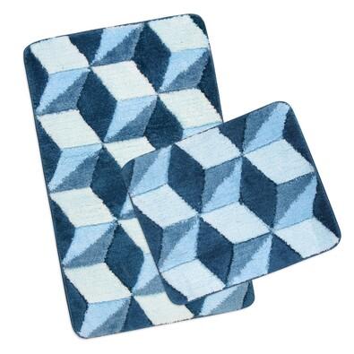 Sada koupelnových předložek Ultra Modrá krychle, 60 x 100 cm, 60 x 50 cm
