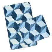 Sada koupelnových předložek Ultra Modrá krychle,60 x 100 cm, 60 x 50 cm
