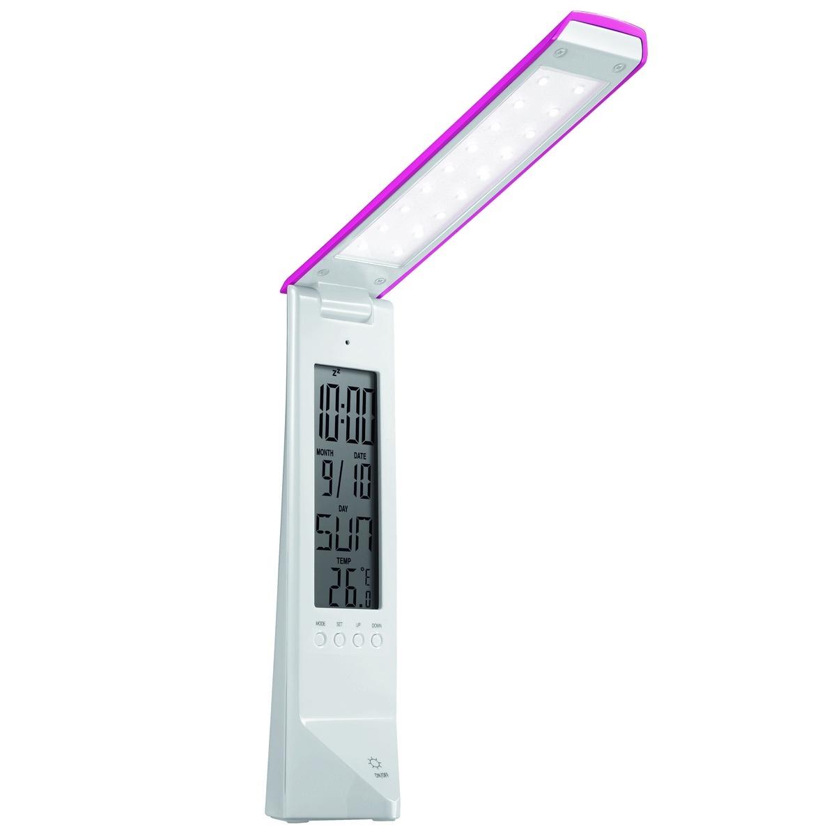 PANLUX DAISY multifunkčný stolná lampička s displejom, bielo / ružová PN15300001