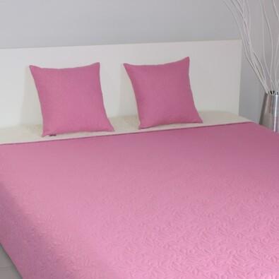 Přehoz na postel Casaro růžová a krémová, 220 x 240 cm