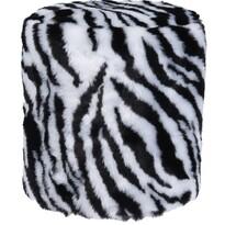 Koopman Taburet z umělé kožešiny Zebra, 31 x 34 cm