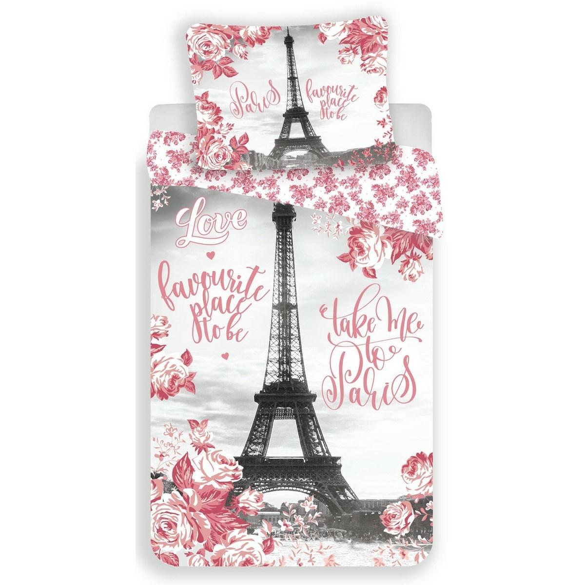 Jerry Fabrics Dětské bavlněné povlečení Paris roses, 140 x 200 cm, 70 x 90 cm