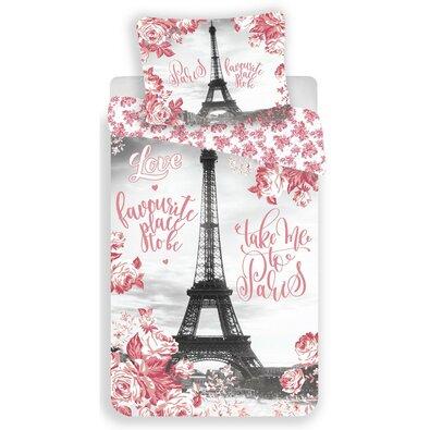 Jerry Fabrics Bavlněné povlečení Paris roses, 140 x 200 cm, 70 x 90 cm