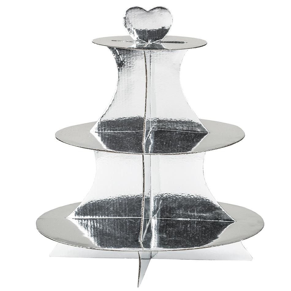 3patrový servírovací stojan, stříbrná, v. 34 cm