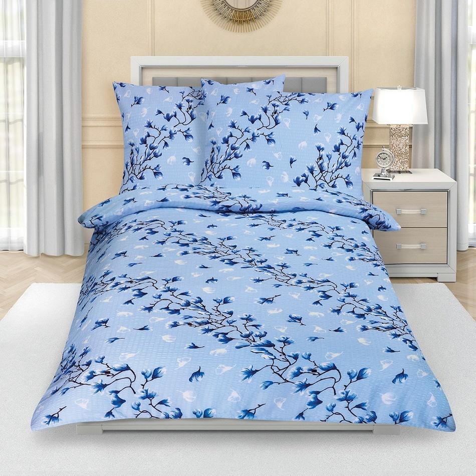 Bellatex Krepové obliečky Krík modrá, 140 x 220 cm, 70 x 90 cm