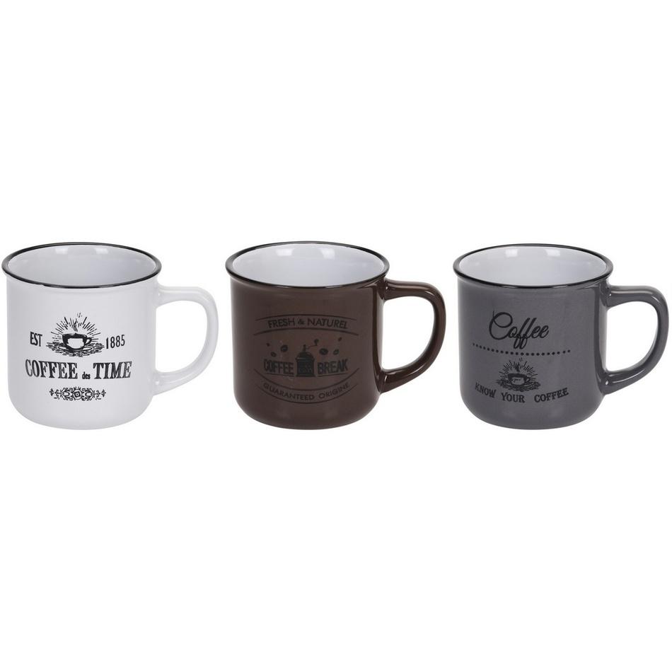 Sada kameninových hrnčekov Coffee 330 ml, 3 ks