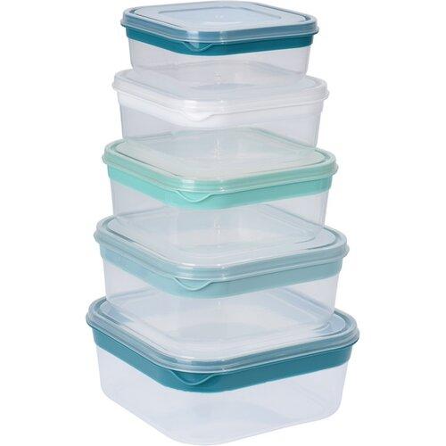 5-częściowy zestaw kwadratowych plastikowych pojemników z pokrywą