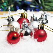 Plastové vánoční koule 2,5 cm, červené, červená