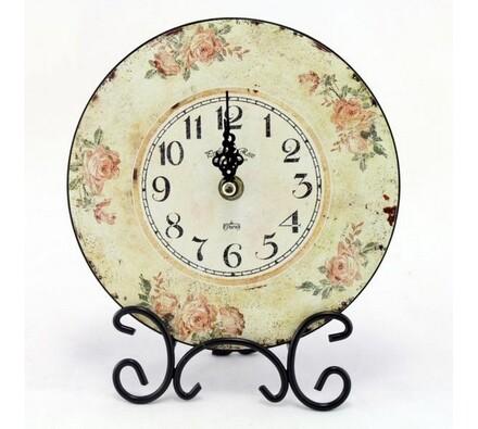 Stolní hodiny s motivem růže, průměr 18 cm, vícebarevná, pr. 18 cm
