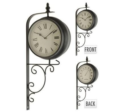Oboustranné hodiny s barometrem, černá